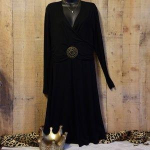 Vertigo Paris Black Ruched Waist Dress Sz L